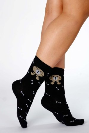 Supa! Sox! Black Dog ladies socks