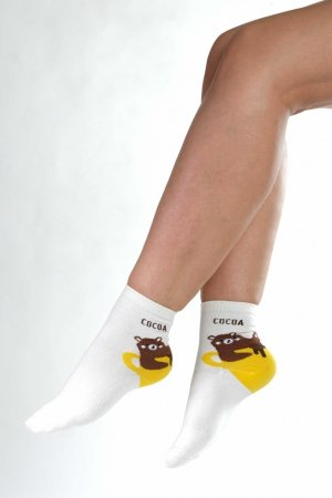 Supa! Sox! White Cocoa ladies socks