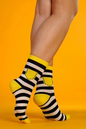 Supa! Sox! Yellow Stripes ladies socks