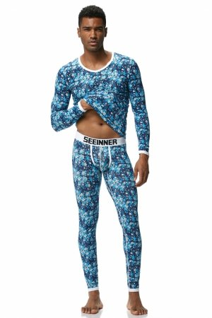 Men`s thermal set SEEINNER  Blue Flowers