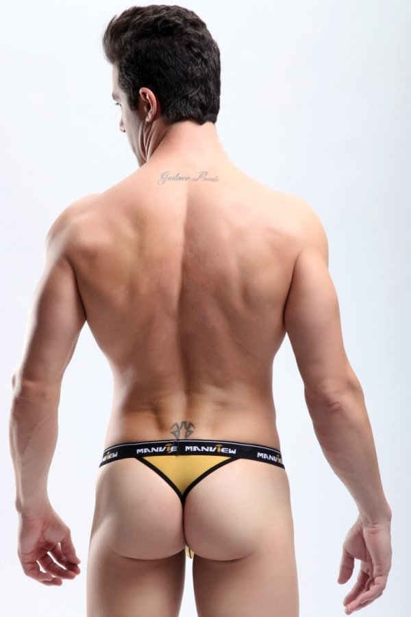 Manview Open Mesh Gold Thongs