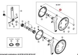 Śruby tarczy mechanizmu korbowego Shimano FC-6800  M8 x 10.1 z nakrętkami 4szt