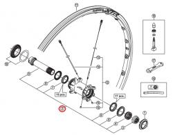 Oś piasty przód Shimano WH-M985-F15 kompletna (stożki, łożyska)