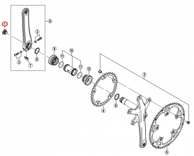 Śruba zaciskająca lewe ramię mechanizmu korbowego Shimano FC-M580/6600/5600