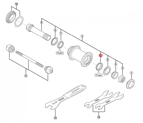"""Wianek Shimano z kulkami (5/32""""x17) HB-M988 prawy"""