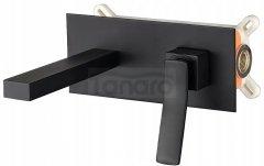 REA - Bateria umywalkowa podtynkowa SONIC czarna + box BLACK