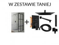 ZESTAW Kabina prysznicowa walk in NERO 100cm + Zestaw podtynkowy prysznicowy FENIX BLACK REA