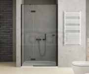 NEW TRENDY Drzwi wnękowe prysznicowe REFLEXA BLACK 90x200 EXK-1322 POLSKA PRODUKCJA