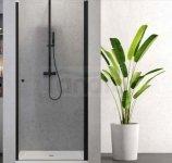 NEW TRENDY - Drzwi prysznicowe wnękowe uchylne 6mm SUPERIA BLACK czarne 80cm D-0332A