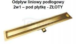 AQUALine - Odpływ liniowy posadzkowy złoty/gold 2w1 pod płytkę 70cm L04GL