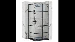 REA Kabina prysznicowa kwadratowa CONCEPT  BLACK czarna krata drzwi przesuwne