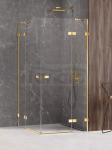 NEW TRENDY Kabina prysznicowa podwójne drzwi uchylne AVEXA GOLD SHINE Linia Platinium 100x100x200 EXK-1702