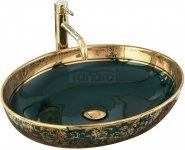 REA - Umywalka MARGOT Złoto / Zieleń ceramiczna