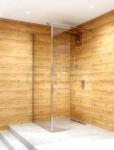 CLUSI - Kabina prysznicowa WALK-IN ARES z boczną szybą, szkło transparentne z powłoka ClanGlass
