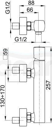 ARMATURA KRAKÓW - MORGANIT natryskowa ścienna 4926-010-00