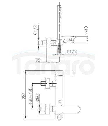 ARMATURA KRAKÓW - Malachit Bateria jednouchwytowa, wannowa 4404-510-00