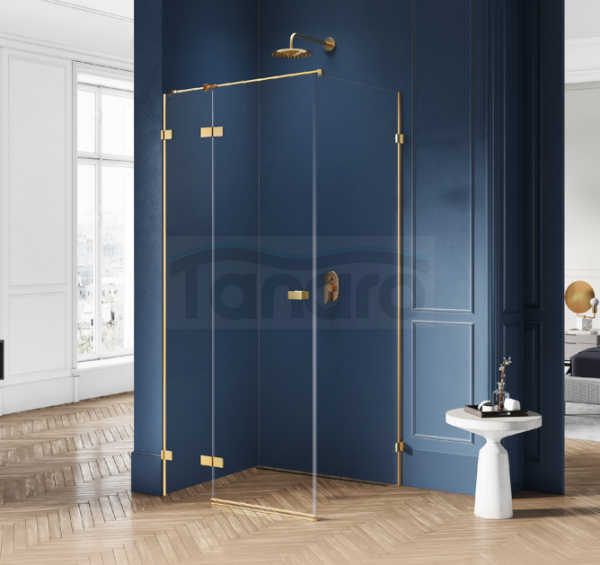 NEW TRENDY - Kabina prysznicowa prostokątna AVEXA GOLD EXK-1748/49 Złote Profile 90x110x200