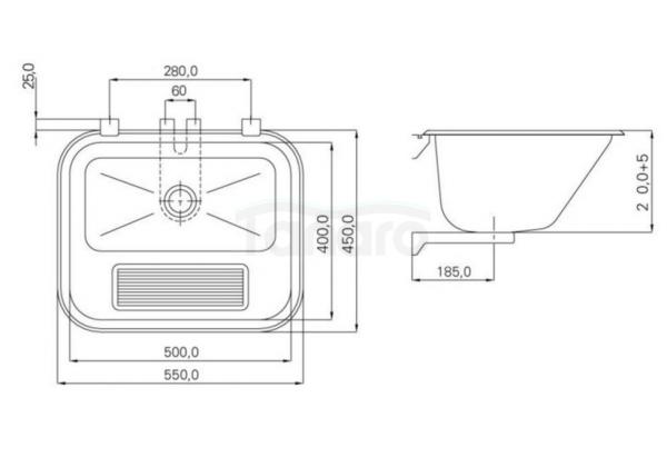 BW-Tech - Komora pralnicza zlew gospodarczy matowy (satyna) + syfon