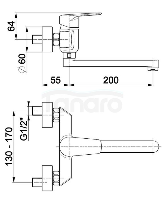 ARMATURA KRAKÓW - Bateria jednouchwytowa zlewozmywakowa ścienna GERMAN 4510-910-00