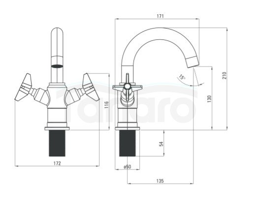 DEANTE - Bateria umywalkowa TEMISTO GOLD/Złota z korkiem click-clack BQT M21D