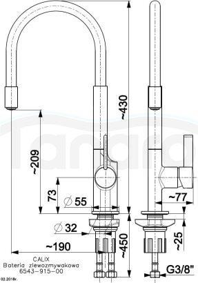 ARMATURA KRAKÓW - CALIX bateria zlewozmywakowa 6543-915-00