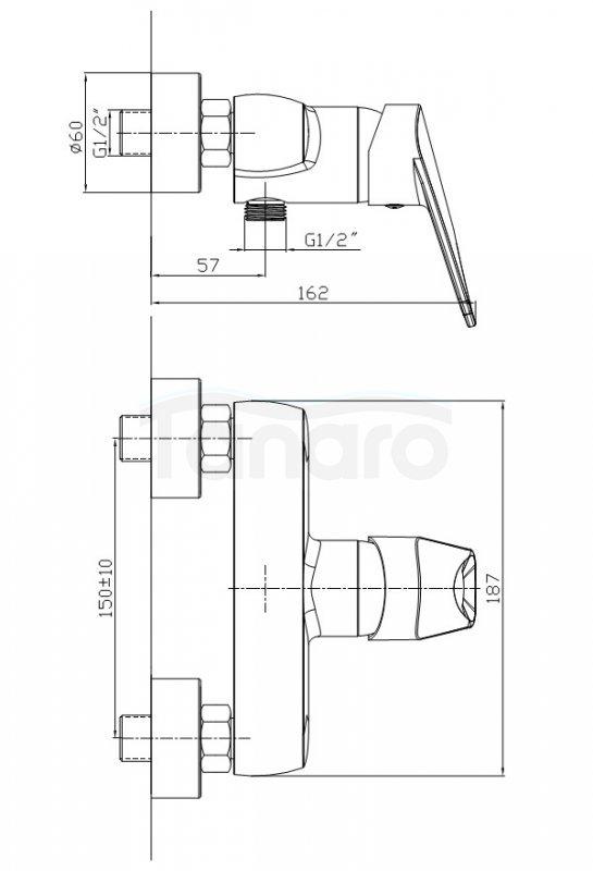 ARMATURA KRAKÓW - Topaz  Bateria natryskowa ścienna 4016-010-00
