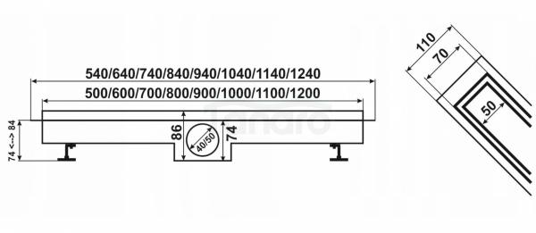 AQUALine - Odpływ liniowy 2w1 POSADZKOWY do wklejenia płytki lub gładka maskownica syfon OBROTOWY ROZMIARY 50-120cm!! R04