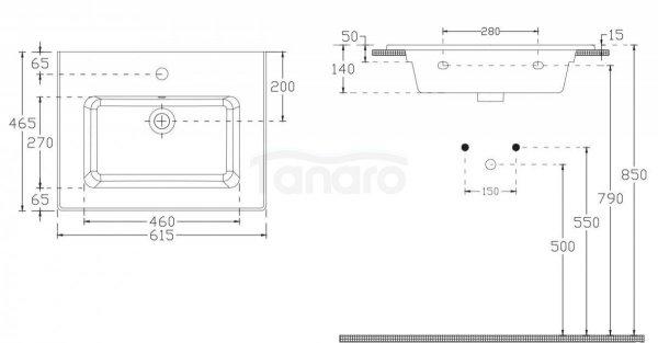 ECE - Umywalka ceramiczna ścienna / meblowa / nablatowa SMILEY 61cm 10SL50061EC