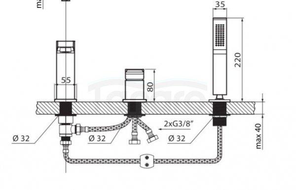 VEDO - Bateria SETTE NERO wannowa 3 otworowa VBS7030CZ