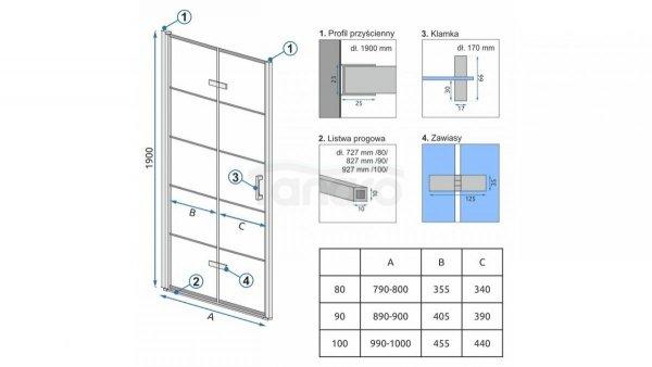 REA Drzwi wnękowe prysznicowe składane MOLIER BLACK + PROFIL 80cm