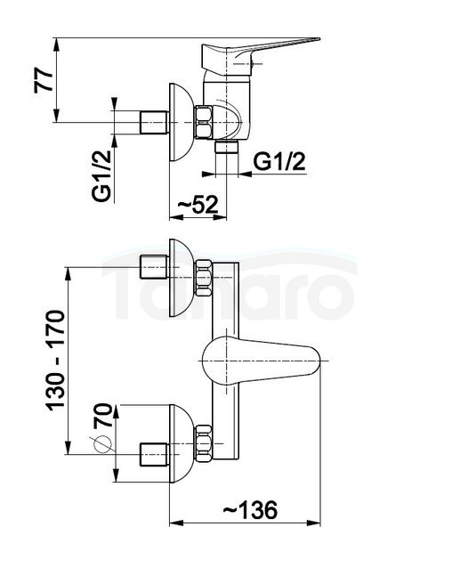 ARMATURA KRAKÓW - Bateria jednouchwytowa natryskowa ścienna LEONIT Baterie, jednouchwytowa, natryskowa LEONIT 5316-010-00