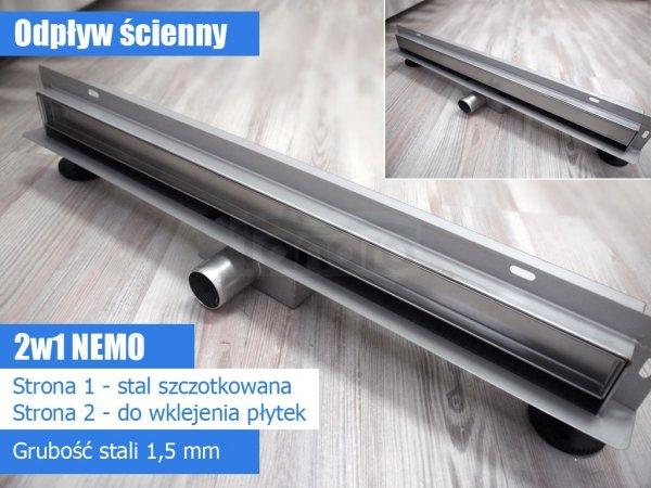 AQUALine - Odpływ liniowy ŚCIENNY NEMO 2w1 niski z metalowym syfonem S04