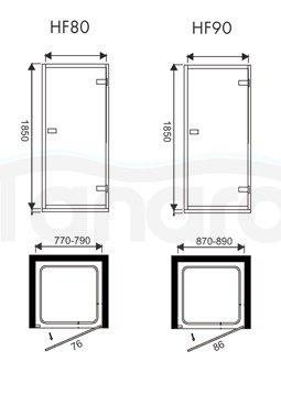 WANA - Drzwi prysznicowe uchylne IPSOS 80x185