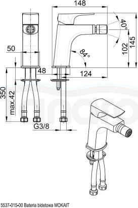ARMATURA KRAKÓW - MOKAIT bateria bidetowa 5537-015-00