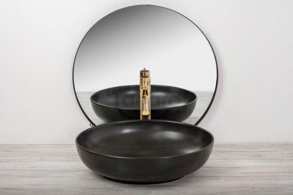 REA - Umywalka ceramiczna nablatowa CAROLA Slim BLACK MAT