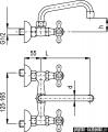 KFA RETRO bateria umywalkowa, długość wylewki L = 160 mm CHROM   370-340-00