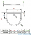 Radaway Premium Plus P Kabina półokrągła 100x90 szkło przejrzyste + Brodzik Delos P + syfon 33300-01-01N