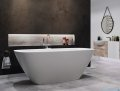 Corsan Okama wanna wolnostojąca 150x73 cm biała + syfon klik-klak E-021 aranżacja