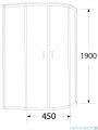 Sea Horse Stylio kabina asymetryczna 80x100x190 cm grafit BK503G+