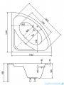 Besco Luksja 148x148cm wanna symetryczna + obudowa + syfon #WAL-150-NS/OAL-150-NS/19975