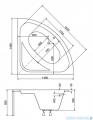 Besco Luksja 148x148cm Wanna symetryczna narożna #WAL-150-NS