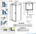 Radaway Essenza New Kdj+S kabina 80x80x80cm lewa szkło przejrzyste + brodzik Doros C + syfon rysunek techniczny