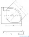 Piramida Diper II Brodzik 90x90 cm półokrągły pod zabudowe #BAD-90-II