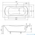 Besco Aria Plus 140x70cm wanna prostokątna z uchwytami + obudowa + syfon #WAA-140-PU/#OAA-140-PA/19975
