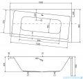 Besco Infinity 150x90cm wanna asymetryczna prawa + obudowa + syfon #WAI-150-NP/OAI-150-NS/19975