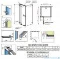 Radaway Euphoria KDJ Kabina prysznicowa 100x90 lewa szkło przejrzyste rysunek techniczny