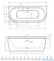 Besco Vista wanna 160x75cm wolnostojąca przyścienna z syfonem #WKV-160-WS