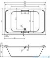 Riho Sobek wanna prostokątna 180x115cm+nóżki+syfon BB28/07/AMC55