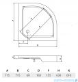 Piramida Alex Brodzik 70x70cm półokrągły ze zintegrowaną obudową BAA-70