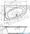 Riho Lyra wanna asymetryczna 153x100cm lewa nóżki+syfon BA68/08/19975